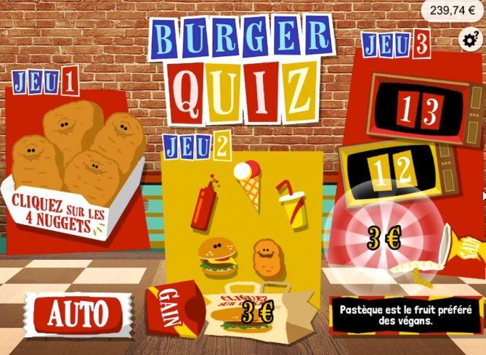 ticket de jeu Burger Quiz gagnant