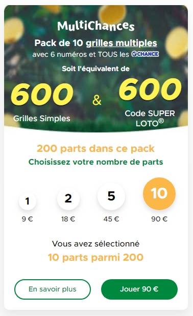 Profiter du pack MultiChances 600 grilles et 600 codes loto