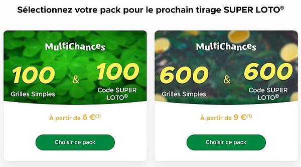 Sélectionnez pack MultiChances pour prochain tirage SUPER LOTO